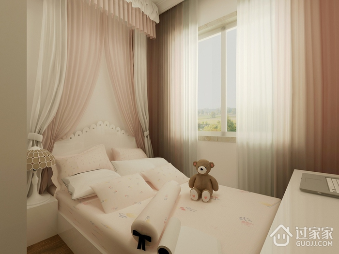 淡雅出彩简约两居室欣赏儿童房背景墙