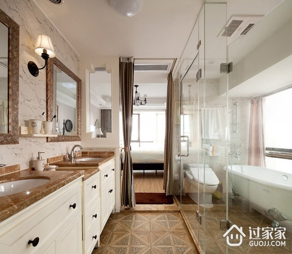 卫生间淋浴房设计效果图 典雅时尚美式风