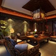 中国风复古家具客厅效果图