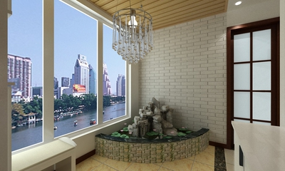 100平简约三室两厅案例欣赏玄关灯饰