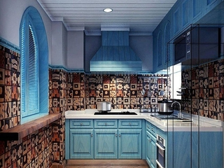 蓝色地中海住宅欣赏厨房
