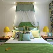 现代简约风公寓卧室床品摆设