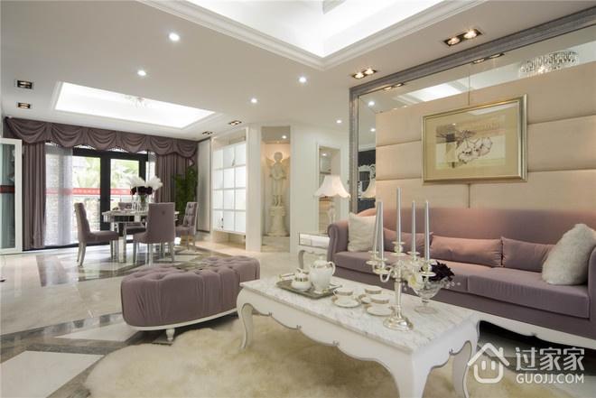 124平欧式三居室欣赏客厅吊顶