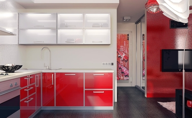 艳丽色彩简约住宅欣赏厨房