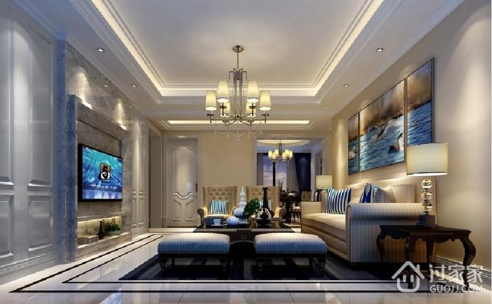 蓝色欧式风情 客厅灯饰装修效果图