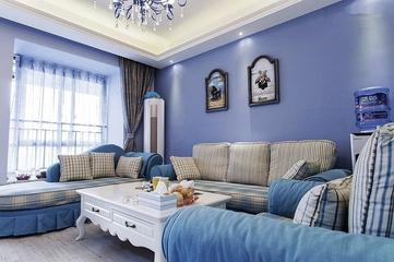 112平蓝色地中海住宅欣赏客厅窗帘