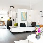 63平白色宜家住宅欣赏客厅