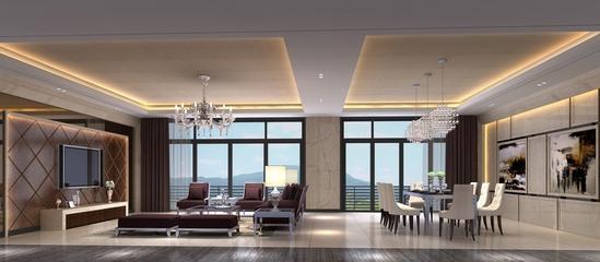 130平现代大宅设计欣赏客厅全景