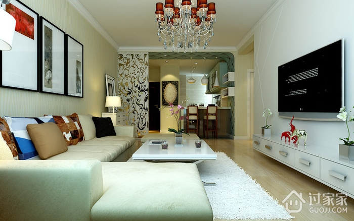 精致现代客厅照片墙装修 给你一个温暖家