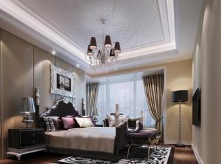 105平新古典三居室欣赏卧室背景墙