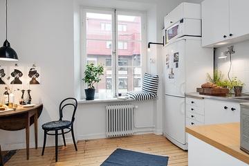 47平白色北欧住宅欣赏餐厅效果