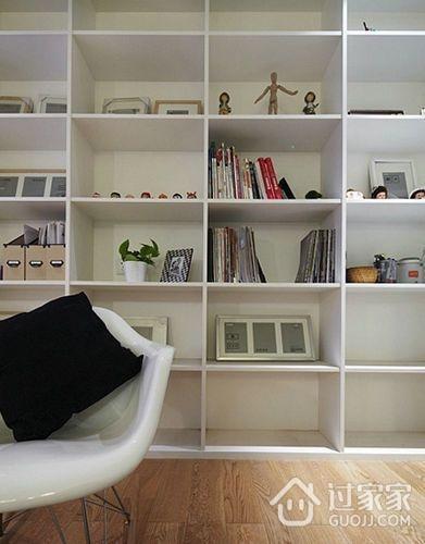 82平现代婚房两居室欣赏卧室书架设计