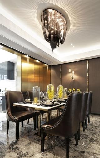 140平新古典黑金住宅欣赏餐厅设计
