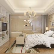 高端大气公寓 现代卧室背景书架效果图