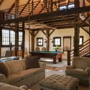美式乡村木色别墅效果图客厅全景
