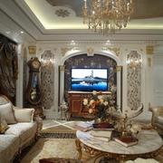 欧式样板间客厅背景墙设计