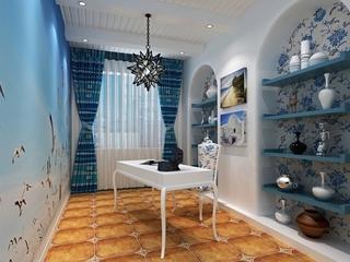 蓝色地中海住宅欣赏书房