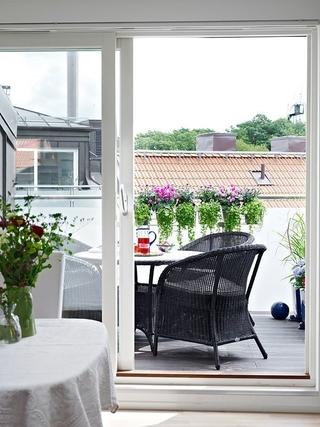 91平白色北欧住宅欣赏阳台