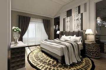 整洁新中式住宅欣赏卧室窗帘