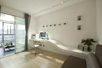 94平精致白色简约住宅欣赏书房设计