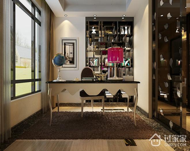 110平新古典三居样板房欣赏书房书架