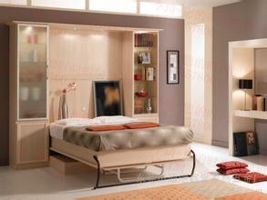 去掉那些太大型的家具,选择沙发床垫,利用垂直空间,安装尚族隐形床及图片