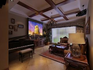 美式风格案例效果图欣赏客厅全景
