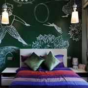 卧室绿色手绘背景墙效果图