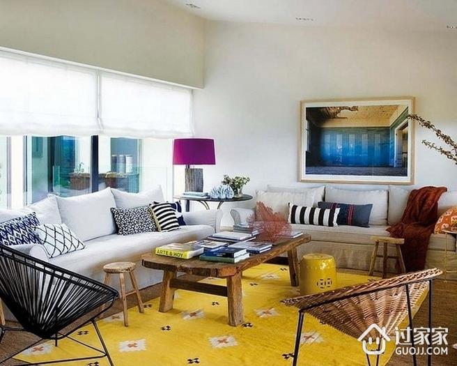 客厅窗帘装饰效果图 多彩混搭风