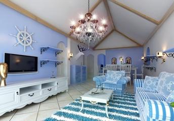 110平蓝色地中海住宅欣赏客厅