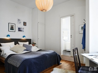 56平白色宜家公寓欣赏卧室