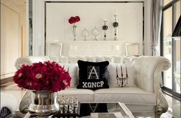 78平简欧两居室案例欣赏客厅背景墙